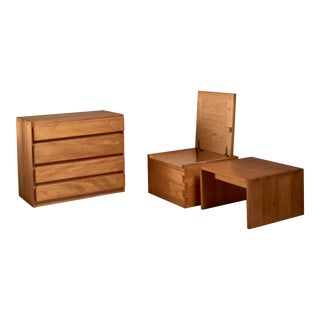 Campagne Style Fir Wood Set of Three Pieces, France, 1960s For Sale