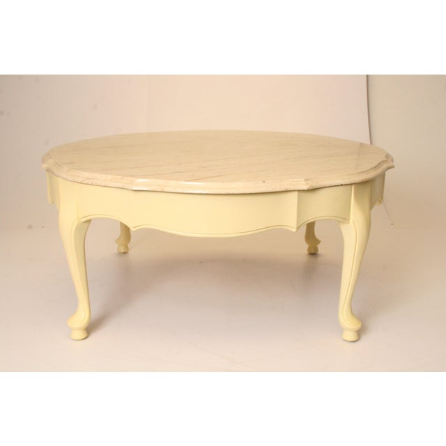 Vintage French Provincial Coffee Table: Vintage French Provincial Marble Top Round Coffee Table
