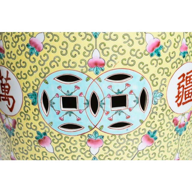 1950s Chinese Famille Rose Garden Stools - a Pair For Sale - Image 5 of 12