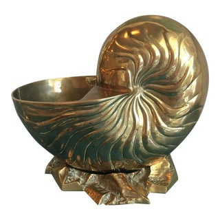 Vintage Large Brass Nautilus Planter Seashell Shell Statue For Sale