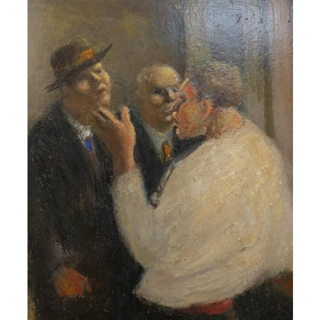 Impressionism C.H Kelly - Tavern Scene -California Regionalist -Oil painting c.1930s For Sale - Image 3 of 10