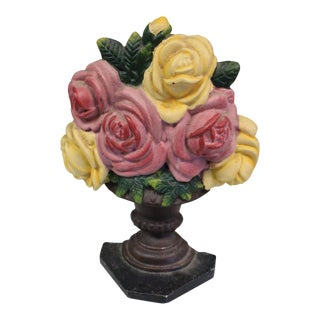 Vintage Rose Bouquet Doorstop For Sale