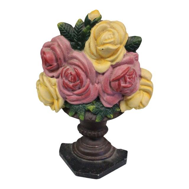 Vintage Rose Bouquet Doorstop For Sale