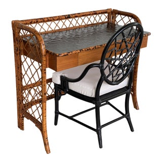 Vintage Tortoise Rattan Desk and McGuire Cracked Ice Chair-Two Piece Set For Sale