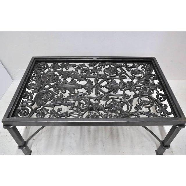 19th Century French Balcony Polished Iron Coffee Table Base For Sale In Dallas - Image 6 of 8