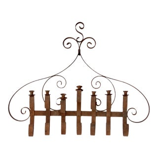 Antique Wiought Iron Wall Candle Holder For Sale
