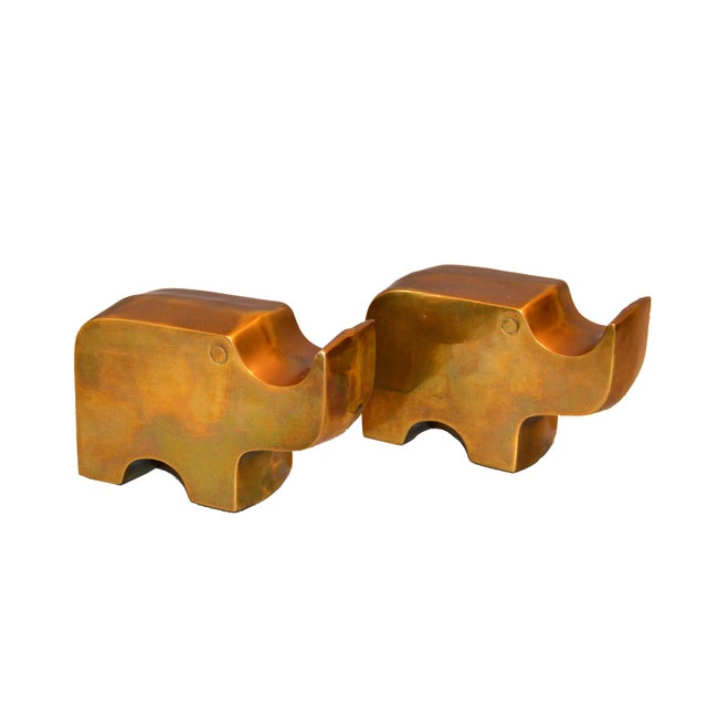 Mid-Century Modern Bronze Rhinoceros Bookends in the Manner of Fratelli Mannelli For Sale - Image 4 of 11