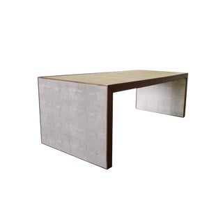 Dwell Studio Coffee Table With Walnut Frame & Faux Shagreen For Sale