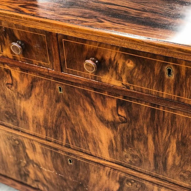 Early 1900s Mahogany Burlwood Hepplewhite Dresser Storage Credenza Cabinet With Hand Turned Wooden Knobs For Sale In Seattle - Image 6 of 7
