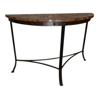 Modern Wrought Iron and Repurposed Oak Console Table For Sale