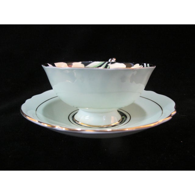 Mid 20th Century Paragon Yellow Daffodil Black Interior Pedestal Cup & Mint Saucer Gilt Trim Set For Sale - Image 4 of 9
