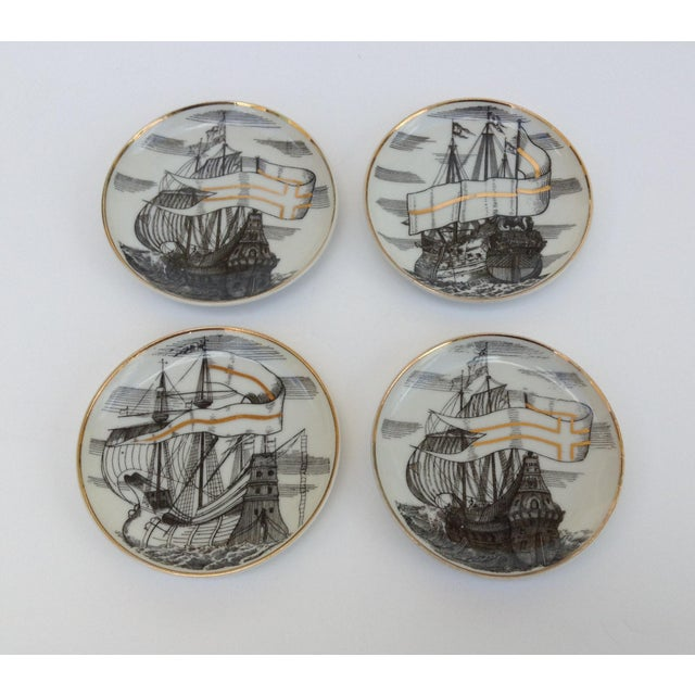 "Vintage; Mid-Century 1960's, porcelain, Fornasetti tall ships, ""Velieri,"" or sailing ships coasters. Set of 4, white..."