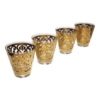 Vintage 1950s Rocks Glasses Stenciled in 22k Gold by George Briard For Sale
