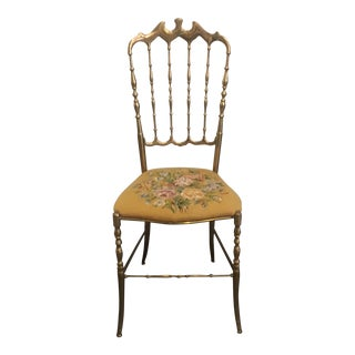 Italian Brass Needlepoint Seat Chiavari Chair