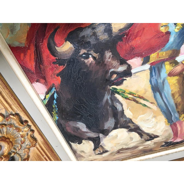 Red Antique Spanish Matador Oil on Canvas Painting For Sale - Image 8 of 10