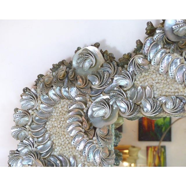Glass Palm Beach Chic Mother-Of-Pearl Shell Encrusted Mirror For Sale - Image 7 of 13