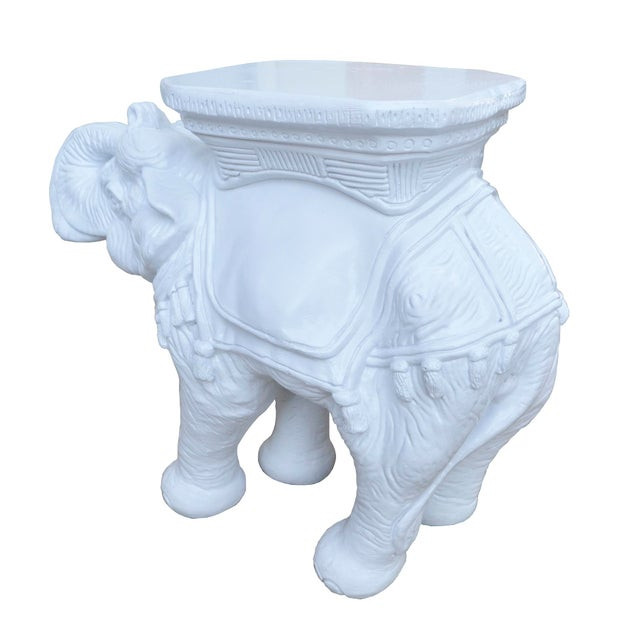 Vintage White Elephant Stools With Tassels - A Pair - Image 4 of 5
