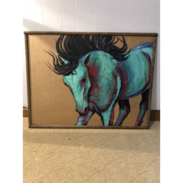 2010s Contemporary Original Acrylic Mixed Medium Painting of Horse For Sale - Image 5 of 5
