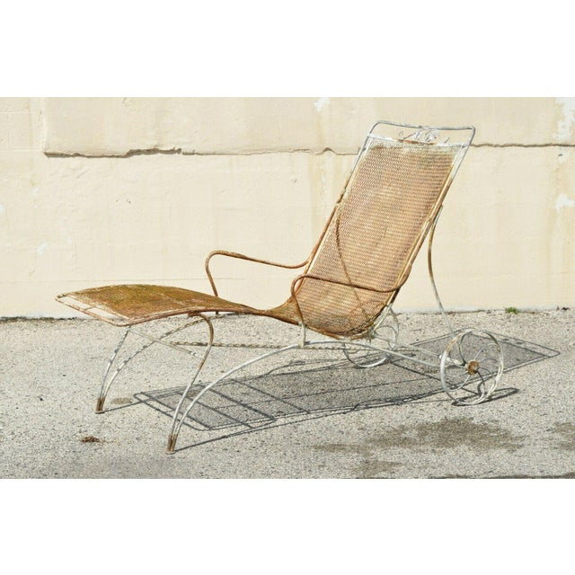 Mid Century Modern Russell Woodard Wrought Iron Patio Chairs- A Pair For Sale - Image 12 of 13