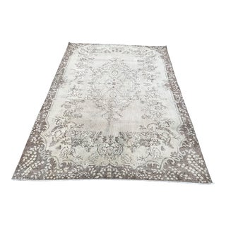 Antique Overdyed White Faded Turkish Rug - 5′10″ × 8′7″ For Sale