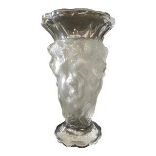 Nude Vase Frosted Glass Lalique Style Czech Art Glass