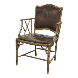 Faux Bamboo Tortoise Shell Painted Chair For Sale