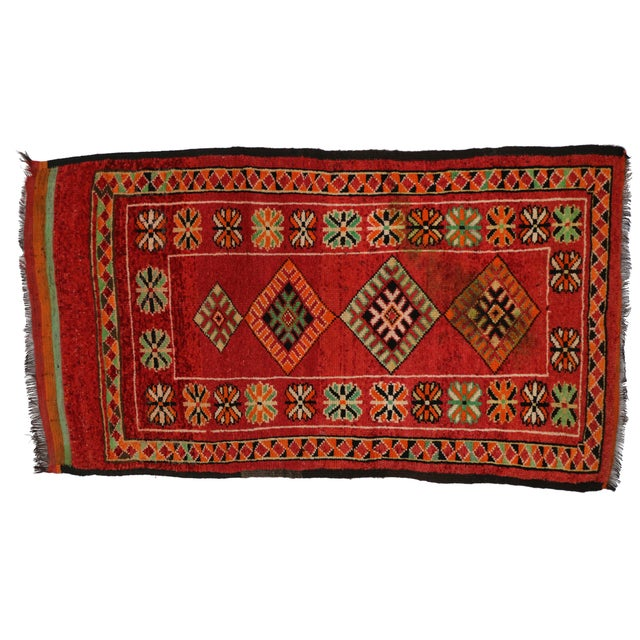 "Vintage Red Berber Moroccan Rug - 3'10"" x 6'6"" - Image 6 of 6"