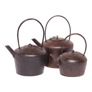 Set of Three Early 20th Century Chinese Cast Iron Tea Pots For Sale