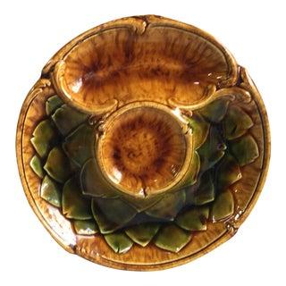 Majolica Artichoke Plate Sarreguemines Majolica, Circa 1870 For Sale