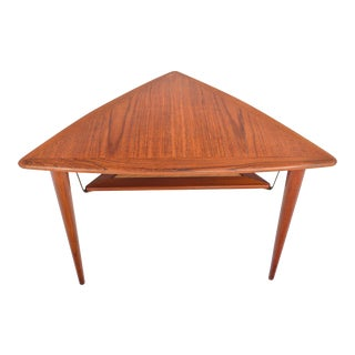 Danish Modern Teak Triangle Side Table With Rack For Sale