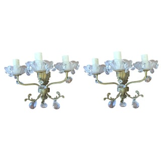19th C French Brass & Crystals Wall Sconces - a Pair For Sale