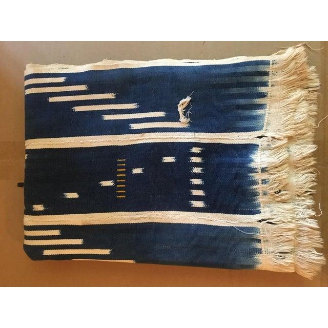Boho Chic Vintage Indigo Baule Cloth Woven For Sale - Image 3 of 4