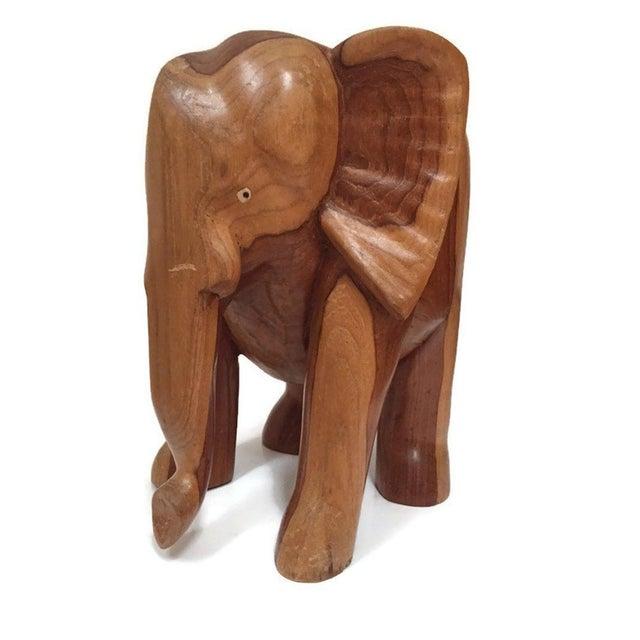 Vintage Carved Wood Elephant Pedestal Statue 11 Inch For Sale - Image 11 of 12