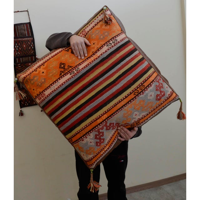 Turkish Hand Woven Floor Cushion Cover - 30″ X 30″ - Image 9 of 11