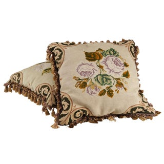 Pair of Floral Embroidered Needlepoint Pillows For Sale