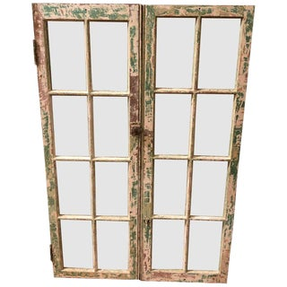 1940s Antique Distressed Windows- A Pair For Sale