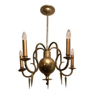 1920s Swedish Grace Bronze Chandelier For Sale