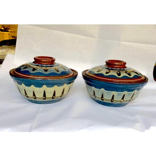 Boho Chic Vintage Soup Bowls S/2 For Sale