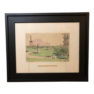 Mid Century Japanese Architectural Painting of the Hotel Okura, Framed For Sale
