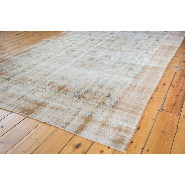 "60s Distressed Floral Oushak Rug - 6'3"" x 10'2"" For Sale - Image 5 of 7"