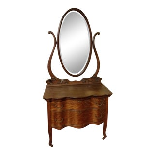 1900s Early American Tiger Oak Dresser With Mirror For Sale