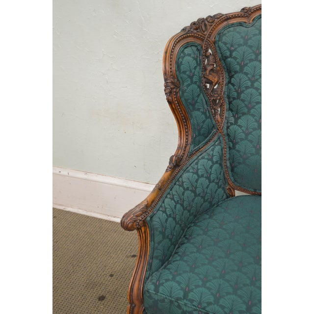 Antique Carved Rococo Style Wing Chair - Image 3 of 10