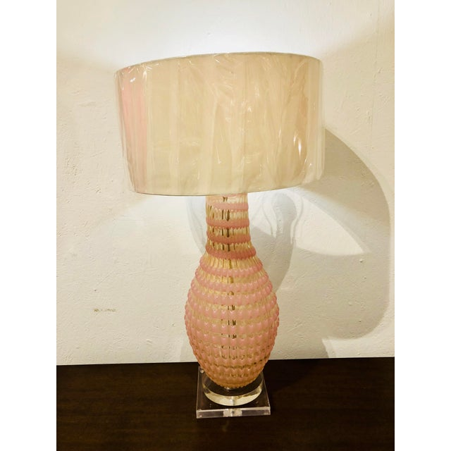 Glass 1950s Hollywood Regency Barovier and Toso Murano Glass Vase Lamp For Sale - Image 7 of 8