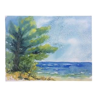 Original Vintage Seascape Watercolor Painting For Sale