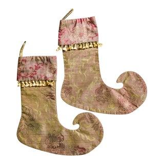 Custom Gold Tassel Christmas Stockings - A Pair For Sale