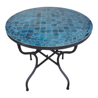 "Moroccan 40"" Petrol Blue Mosaic Coffee Table For Sale"