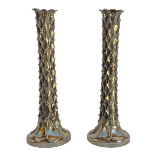 Brutalist Stalagmite Forged Brass Candle Holders - A Pair For Sale