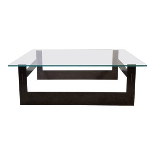 Contemporary Minimalist Blackened Steel and Glass Coffee Table by Scott Gordon For Sale