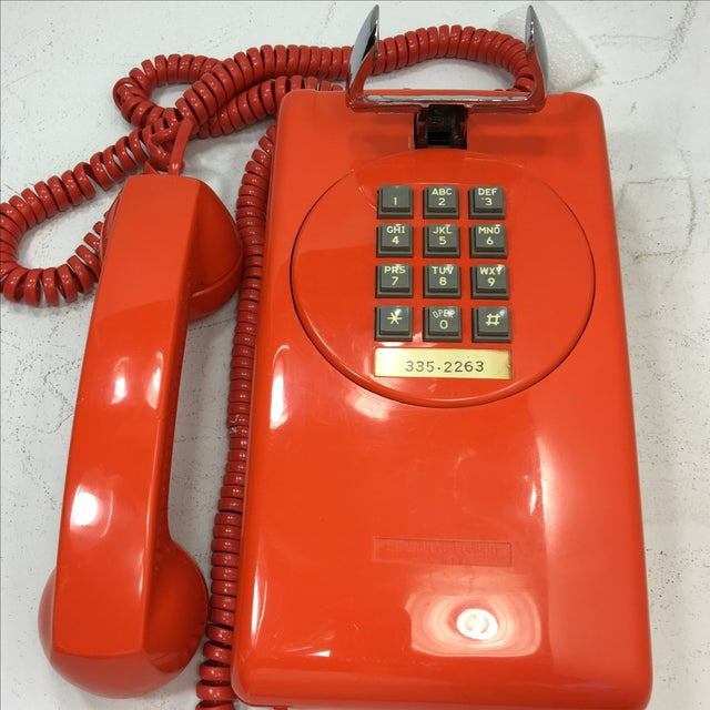 Bright Orange Push Button Wall Phone For Sale - Image 11 of 11