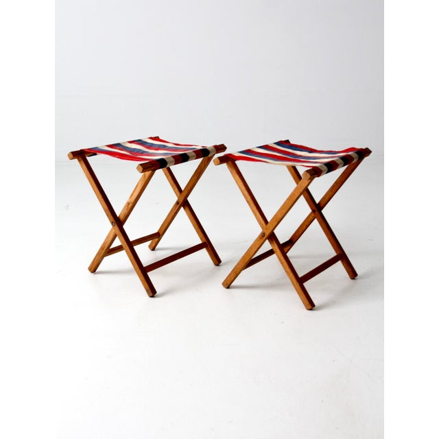 Mid 20th Century Vintage Striped Camp Stools - Set of 2 For Sale - Image 5 of 10